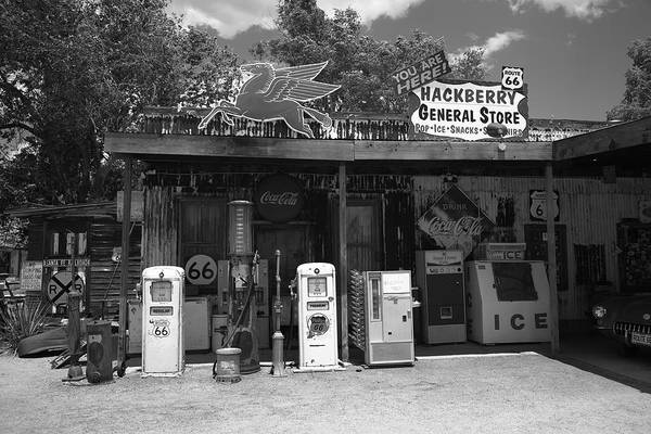 Photograph - Route 66 - Hackberry General Store 2012 Bw by Frank Romeo