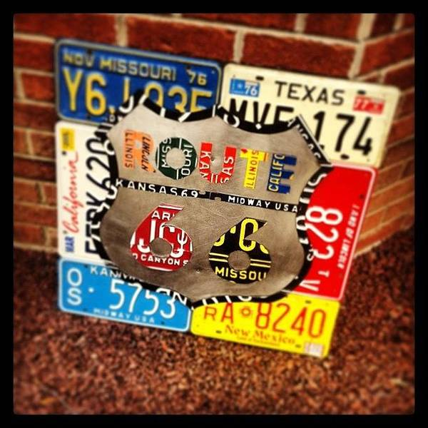 Wall Art - Photograph - Route 66 License Plate Sign - Hanging by Design Turnpike