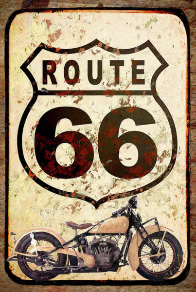 Wall Art - Painting - Route 66 Motorcycle by Cora Niele