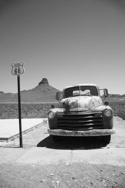 Photograph - Route 66 - Old Chevy And Shield by Frank Romeo