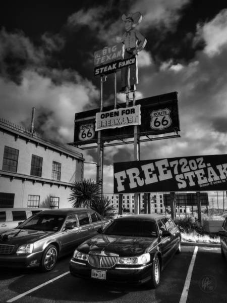 Photograph - Route 66 - The Big Texan 001 Bw by Lance Vaughn