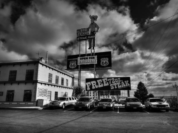 Photograph - Route 66 - The Big Texan 002 Bw by Lance Vaughn