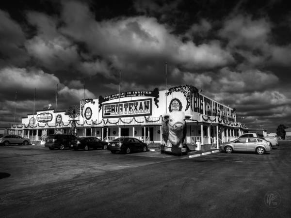 Photograph - Route 66 - The Big Texan 003 Bw by Lance Vaughn