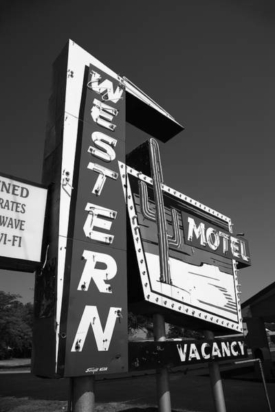 Photograph - Route 66 - Western Motel 2012 Bw #2 by Frank Romeo