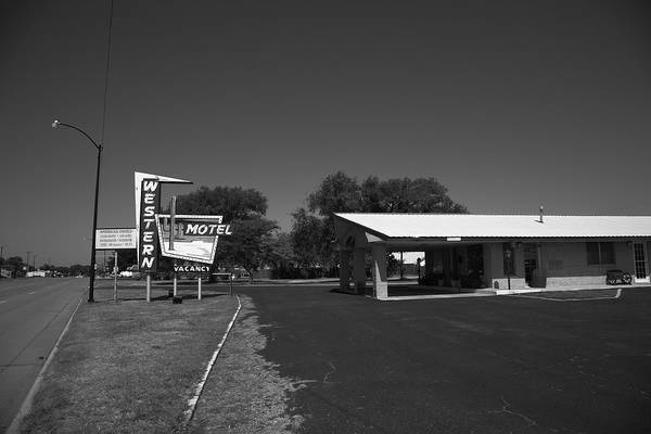 Photograph - Route 66 - Western Motel 2012 Bw by Frank Romeo