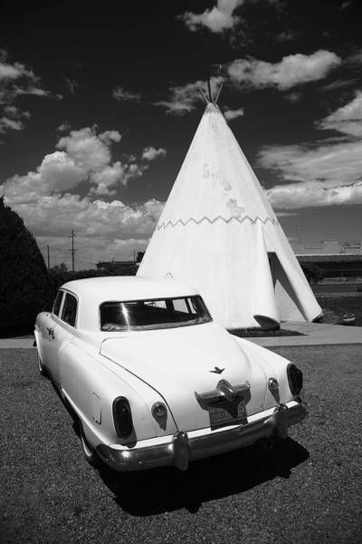 Photograph - Route 66 Wigwam Motel And Classic Car 2012 Bw by Frank Romeo