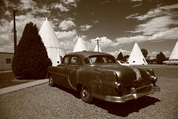 Photograph - Route 66 - Wigwam Motel And Classic Car 6 by Frank Romeo