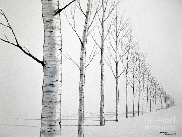 Painting - Row Of Birch Trees In The Snow by Christopher Shellhammer