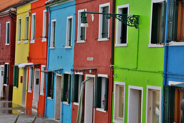 Wall Art - Photograph - Row Of Colorful Buildings Burano, Italy by Darrell Gulin