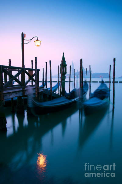 Wall Art - Photograph - Row Of Gondolas At Sunrise In Venice - Italy by Matteo Colombo