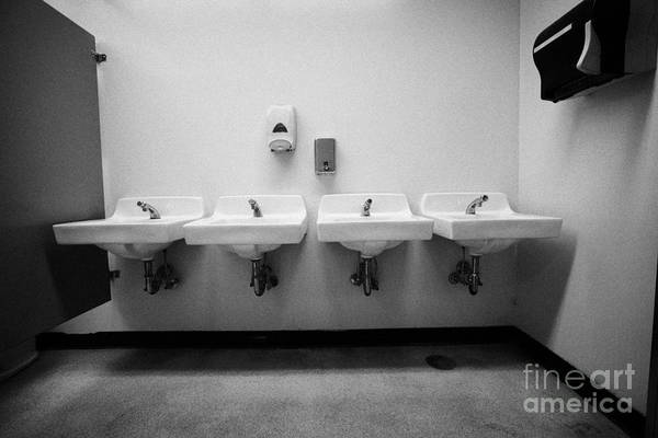 Toilet Photograph - row of sinks in female washroom High school canada north america by Joe Fox