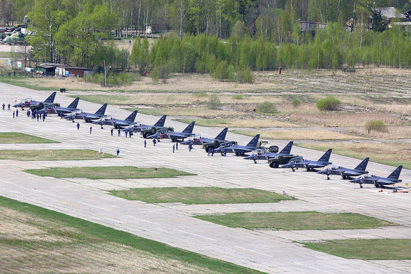 Yakovlev Photograph - Row Of Yak-130 Training Aircraft by Artyom Anikeev