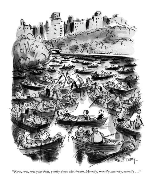 Manhattan Drawing - Row, Row, Row Your Boat, Gently Down The Stream by Barney Tobey