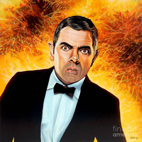 Clock Painting - Rowan Atkinson Alias Johnny English by Paul Meijering