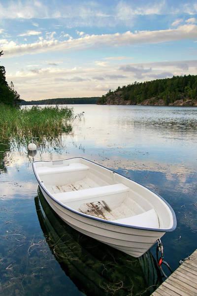 Rowboat Photograph - Rowboat And Lake View by Maria Kallin