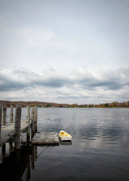 Rowboat Photograph - Rowboat And Pier, Mystic Harbour by Elisabeth Pollaert Smith