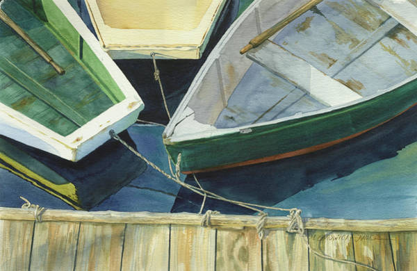 Nautical Wall Art - Painting - Rowboat Trinity II by Marguerite Chadwick-Juner