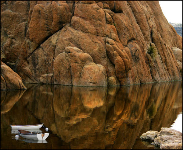 Photograph - Rowboat Reflections Beneath A Dells Monolith  by Wayne King