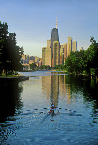 Sportsmen Photograph - Rower On Chicago River With Skyline by Panoramic Images
