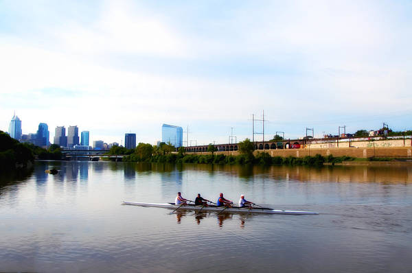 Rowing Photograph - Rowing In Philadelphia by Bill Cannon