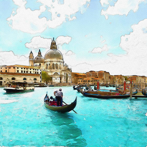 Romantic Mixed Media - Rowing In Venice by Marian Voicu