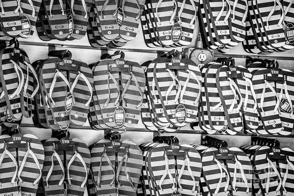 Flip Flops Photograph - Rows Of Flip-flops Key West - Black And White by Ian Monk
