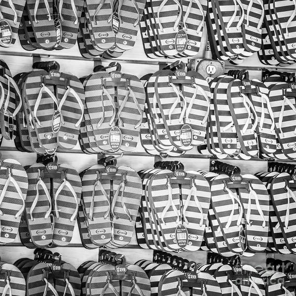 Flip Flops Photograph - Rows Of Flip-flops Key West - Square - Black And White by Ian Monk