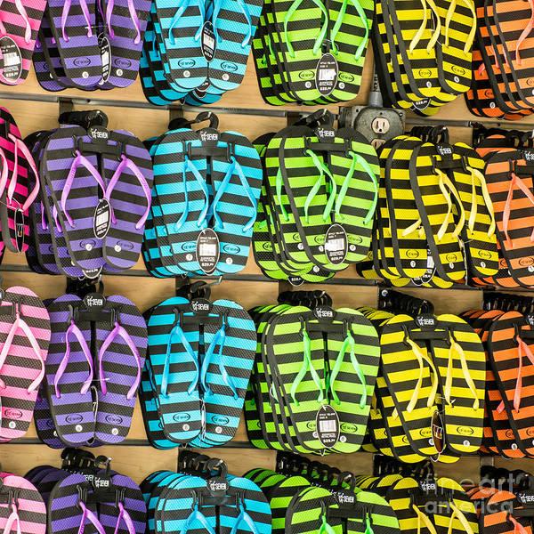 Flip Flops Photograph - Rows Of Flip-flops Key West - Square by Ian Monk