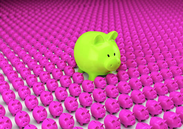 Wall Art - Photograph - Rows Of Pink Piggy Banks With One Large by Ikon Ikon Images