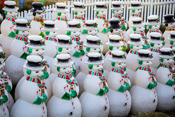Snowman Photograph - Rows Of Snowmen by Garry Gay