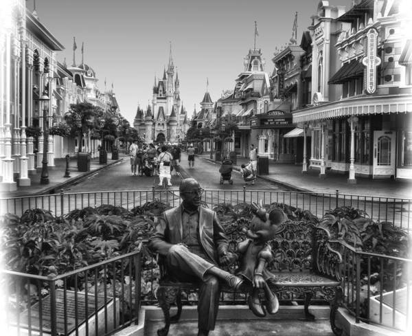 Wall Art - Photograph - Roy And Minnie Mouse In Black And White Walt Disney World by Thomas Woolworth