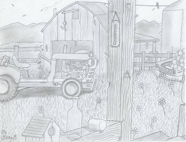 Old Tractor Drawing - Royal Arkansas 1971 by Gerald Griffin
