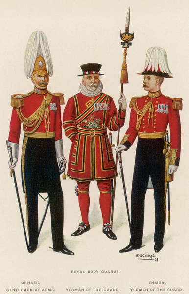 Royal Court Drawing - Royal Body Guards Officer, Gentlemen by Mary Evans Picture Library