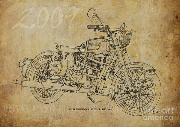 Wall Art - Drawing - Royal Enfield Bullet 500 Clasic by Drawspots Illustrations