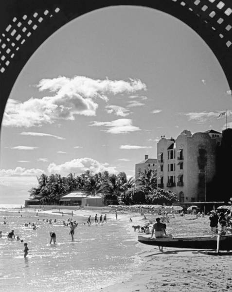 Outrigger Canoe Photograph - Royal Hawaiian Hotel by Underwood Archives
