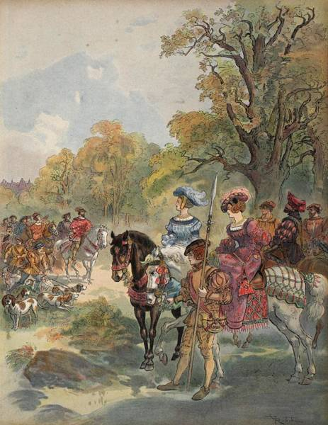Horseback Drawing - Royal Hunt, Illustration From Francois by Albert Robida