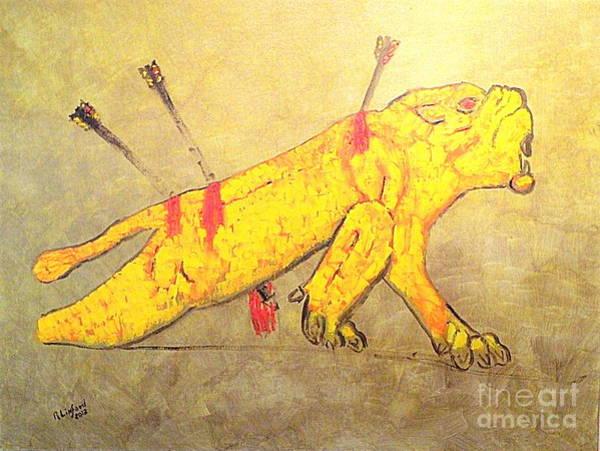 Horsemanship Painting - Royal Lion Hunt 1  by Ricardo Richard W Linford