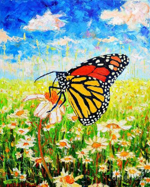 Wall Art - Painting - Royal Monarch Butterfly In Daisies by Ana Maria Edulescu