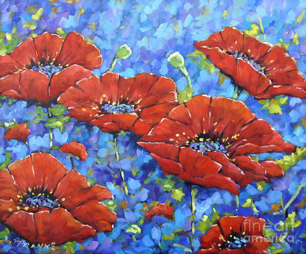 Floral Shower Curtain Painting - Royal Poppies By Prankearts by Richard T Pranke