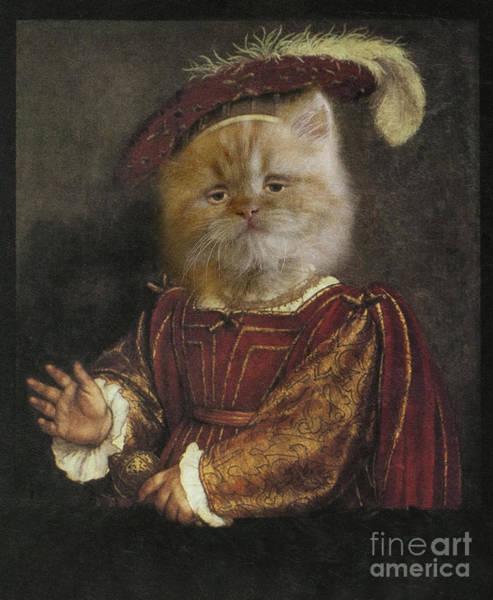 Royal Prince Kitty Human Body Animal Head Portrait Art Print by Jolanta Meskauskiene