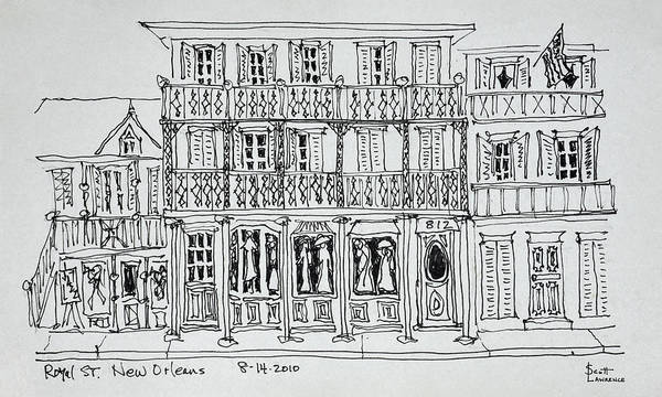 Ink Sketch Photograph - Royal Street, French Quarter, New by Richard Lawrence