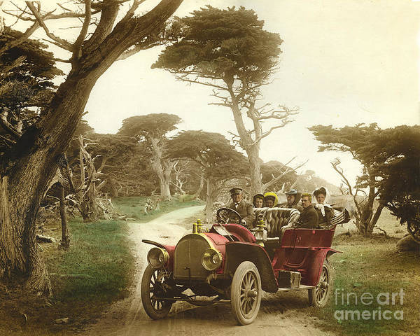 Photograph - Royal Tourist Touring Car Model G3 At Cypress Grove In Pebble Beach California 1910 by California Views Archives Mr Pat Hathaway Archives