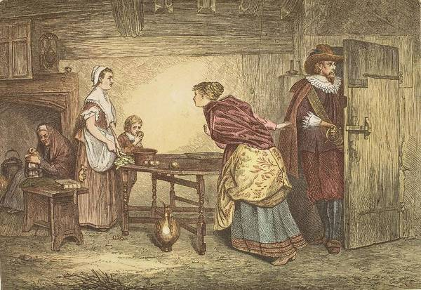 Colour Drawing - Royalists Seeking Refuge In The House by Marcus Stone