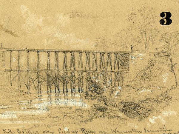 Wall Art - Drawing - R.r. Bridge Over Cedar Run In Warrenton Junction by Quint Lox