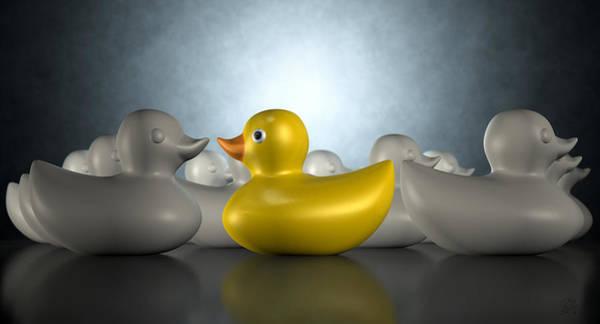 Rubber Duck Wall Art - Digital Art - Rubber Duck Against The Flow by Allan Swart