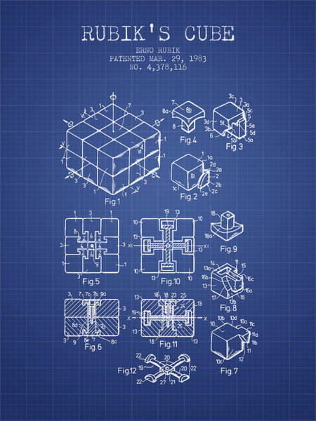 Puzzle Digital Art - Rubiks Cube Patent From 1983 - Blueprint by Aged Pixel