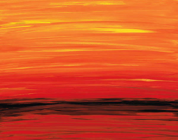 Painting - Ruby Shore - Red And Orange Abstract by Sharon Cummings