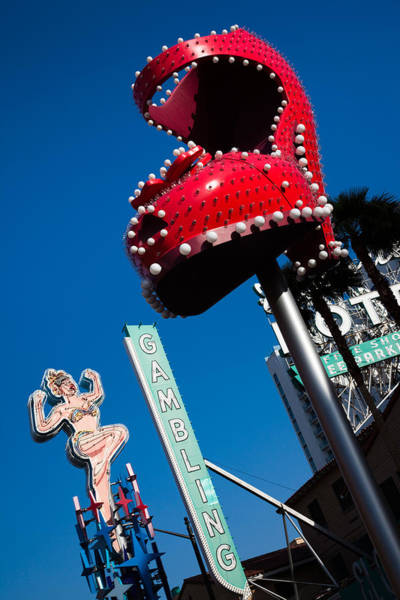 Lady Slipper Photograph - Ruby Slipper Neon Sign In A City, El by Panoramic Images