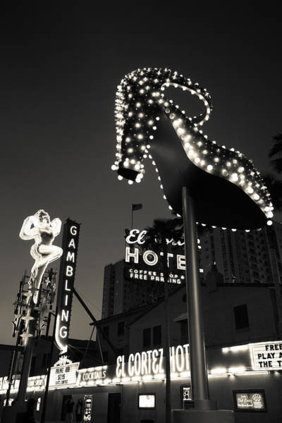 Slipper Photograph - Ruby Slipper Neon Sign Lit Up At Dusk by Panoramic Images