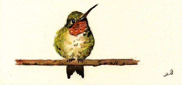 Ruby Wall Art - Painting - Ruby Throated Hummingbird  by Juan  Bosco